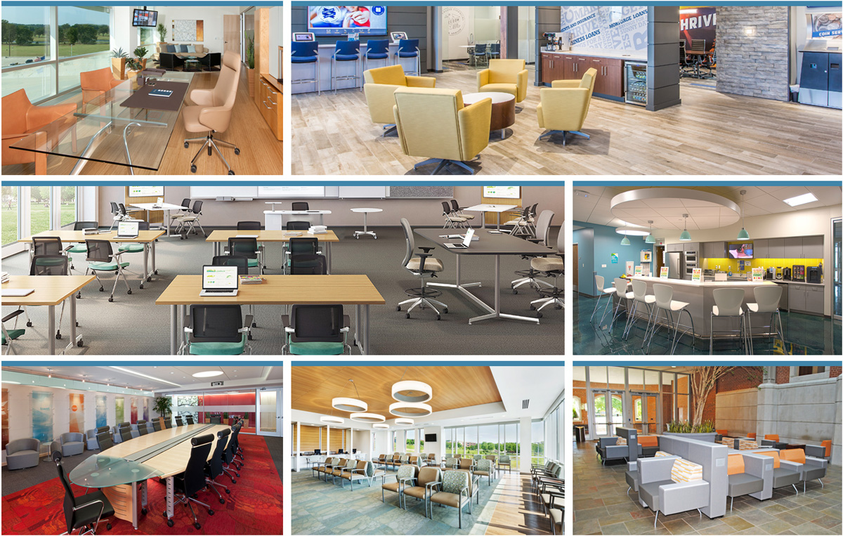 A variety of the commercial office furniture projects we have completed throughout the years.