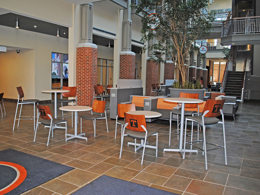 Examples of multi-group workspace at the Haslam Building at UT.